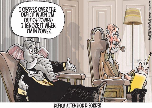 republican defecit attention disorder political cartoon